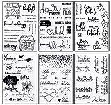 Juego de pegatinas para manualidades, sello de silicona, 6 hojas, sello de silicona, calendario, escritura a mano, juego de pegatinas