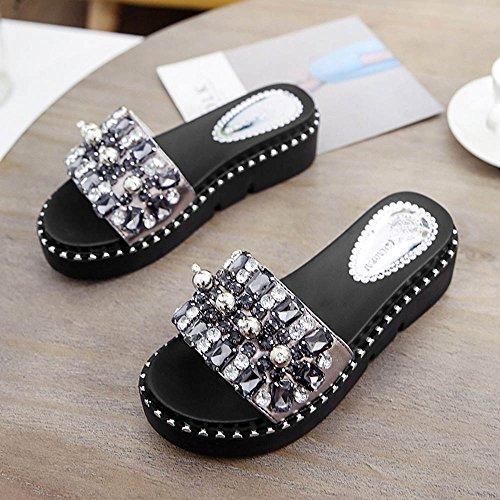 Sandales LVZAIXI Womens Mesdames Plates Sliders Glisser sur Diamante Mule Scintillantes Flip Flops Pantoufles Taille