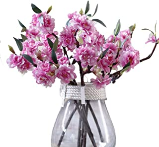 JAROWN 5 Pcs Silk Cherry Blossom Flowers Artificial Branches Sakura Petals for Home Decoration (Dark Pink)