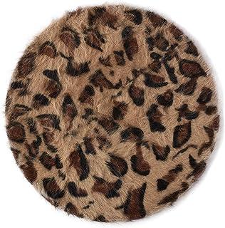 Joyhy Women's Leopard Fluffy Classic French Style Beret Beanie Hat