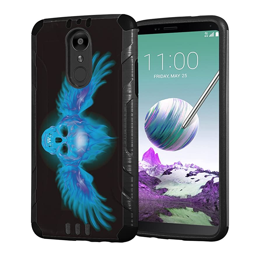 Moriko Case Compatible with LG Stylo 4 Plus, LG Stylo 4, LG Q Stylus [Armor Layer Drop Protection Slim Fashion Shockproof Black Case] for LG Stylo 4 - (Blue Fire Wing Skull)