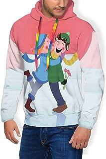 Men's Hoodie Plus Velvet Sweatshirt,Winter Love Theme Girl Kisses Boy On The Cheek When He Gives Her Flowers Image 3XL