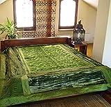 Guru-Shop Brokat- Samtdecke, Tagesdecke, Bettüberwurf - Henna/grün, Synthetisch, 270x230 cm, Patchwork Steppdecke aus Indien