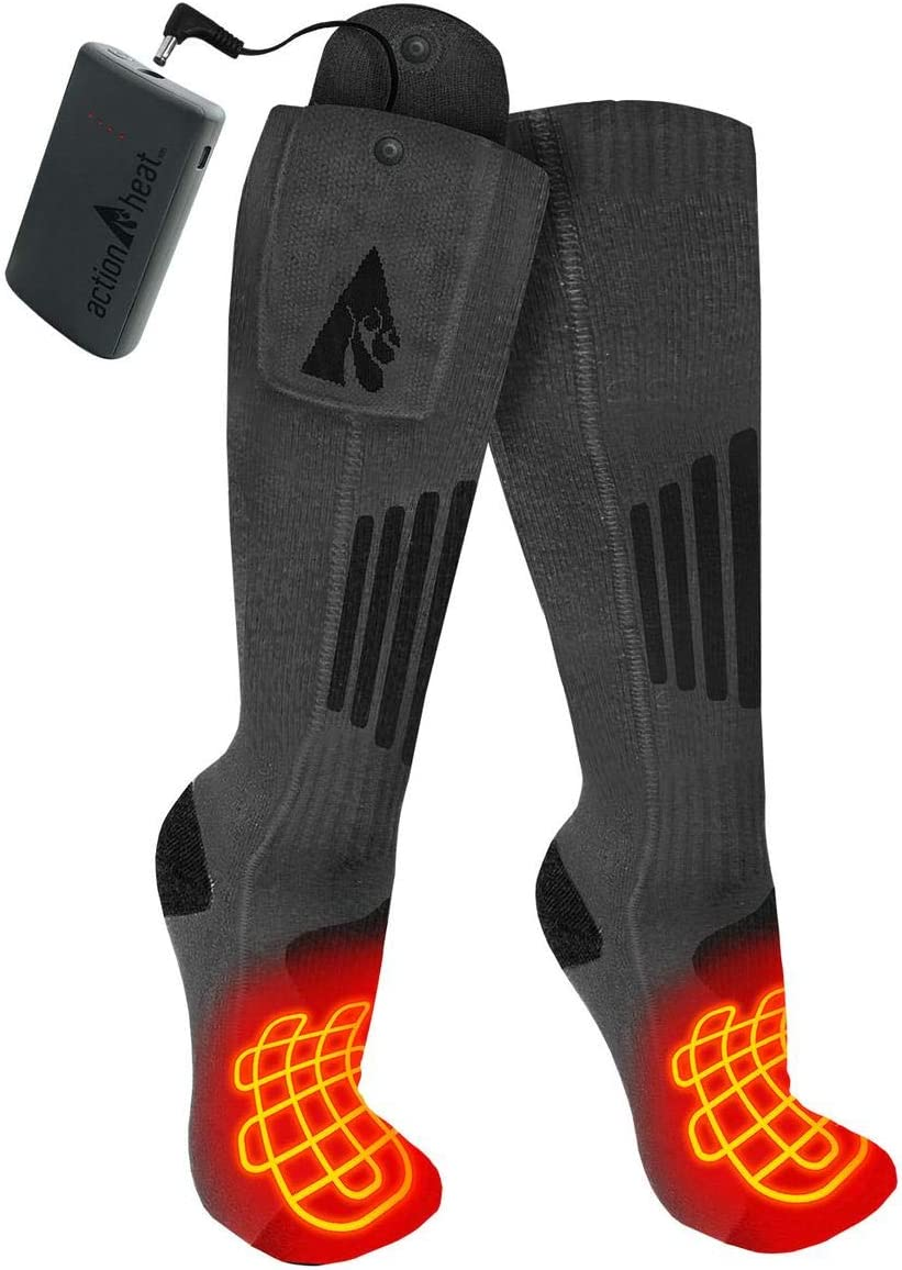 ActionHeat 3.7V Rechargeable Battery Heated Socks 2.0 with Remote Control – Cotton and Wool Thermal Socks – Electric Heating Socks for Cold Weather Outdoor Activities – Grey/Black