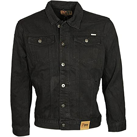 Duke London Mens Denim Jacket Trucker Casual in Stonewash & Black Colour (5XL, Black)