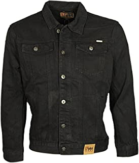 Duke London Mens Denim Jacket Trucker Casual in Stonewash & Black Colour