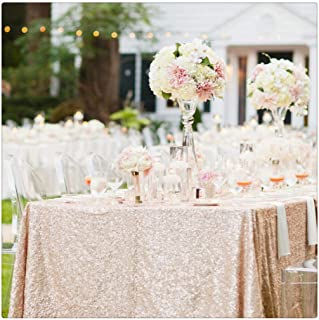 Sequin Tablecloth 50inchx102inch Champagne Blush Sequin Table Overlays Sequin Fabric Sequins Table Cover