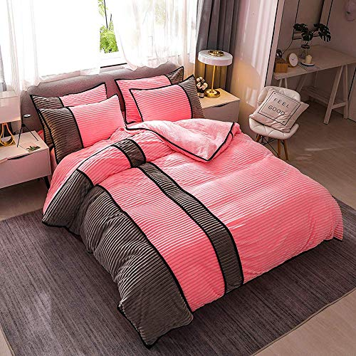 LOKKG Duvet Cover Set,Quilt Cover Bedding Sets Flannel with Hidden Double Zippered Duvet Cover Winter Warm Reversible Pillow Cover,Bed Shee