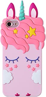 Artbling Case for iPhone SE/5S/5/5C,Silicone 3D Cartoon Animal Cover,Kids Girls Teens Cool Lovely Cute Cases,Kawaii Soft Gel Girly Rubber Unique Character Protector for iPhone 5 5C (Pink Unicorn)