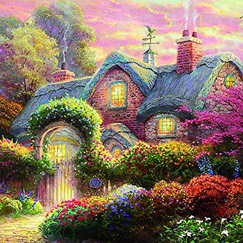 Diamond Painting Large Size Garden Shed DIY Diamond Painting by Numbers Kits Full Drill Crystal Rhinestone Embroidery Cross Stitch Mosaic Canvas Wall Art Decor Round Drill,25x30cm(10x12in)