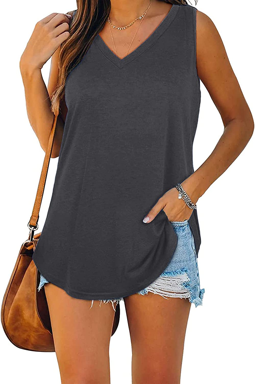 POLLYANNA KEONG Tank Tops for Women Workout,Womens Tank Tops Summer Loose Fit Color Block Casual Sleeveless Tshirts
