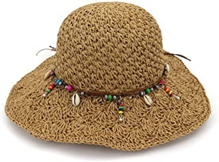 Fashion Hats, Caps,Elegant Hats, Natural Caps Summer Straw Hat Fashion Women's Outdoor Beach Bucket Hat Kentucky Derby Wide-Brimmed Hat Sun Hat (Color : Coffee, Size : 56-58CM)