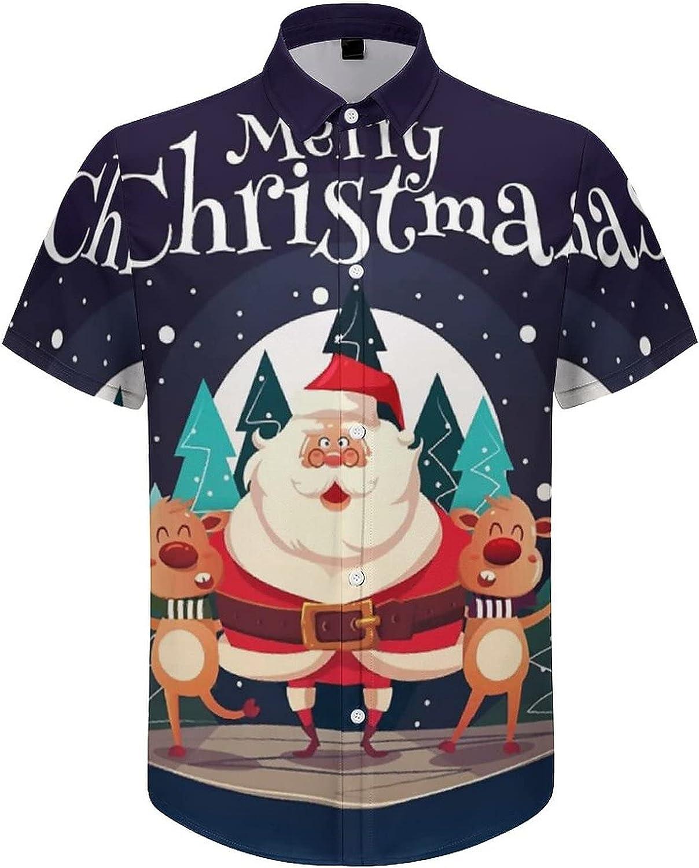Hawaiian Shirts for Men Happy Santa Christmas Printed Beach Shirt Hawaiian Shirts