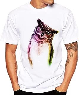 Zulmaliu Owl Printing Top Men Short Sleeve Tee Shirt Summer T-Shirts Sport Blouse