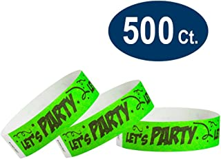 "WristCo Let`s Party 3/4"" Tyvek Wristbands - 500 Pack Paper Wristbands for Events"