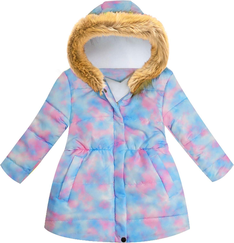 HMBEIXYP Girls Winter Coats Outstanding Hooded Jackets Parka Ranking TOP5 Dye Tie Zipper