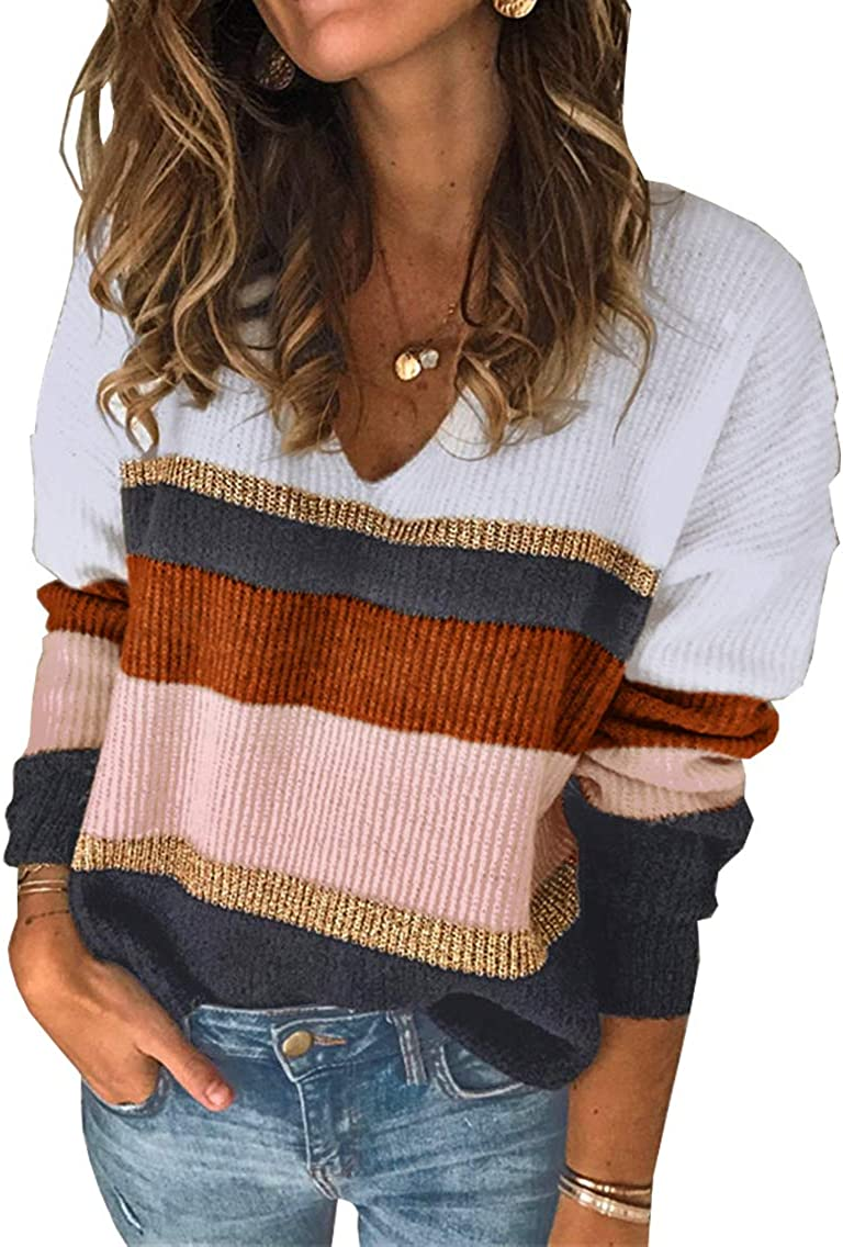 PRETTYGARDEN Women's Fashion Long Sleeve Striped Color Block Knitted Sweater Crew Neck Loose Pullover Jumper Tops