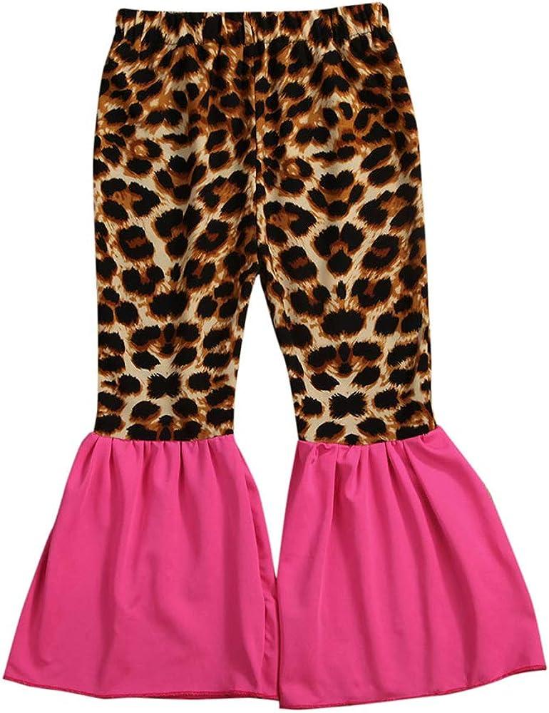 Toddler Kids Little Girls Bell Bottoms Cheetah Leopard Print Ruffle Flare Pants Leggings Trousers Fall Clothes