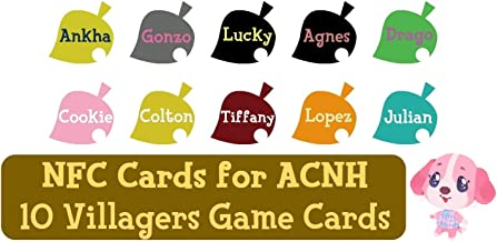 NFC Tag Game Cards for Animal Crossing New Horizons Switch/Switch Lite/Wii U - Ankha, Gonzo, Lucky, Agnes, Drago, Cookie, Colton, Tiffany, Lopez and Julian