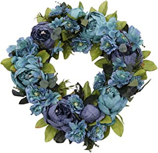 Amosfun Artificial Peony Flower Wreath Festival Floral Wreath Spring Garland Wreath Front Door Wedding Party Wall Home Dec...
