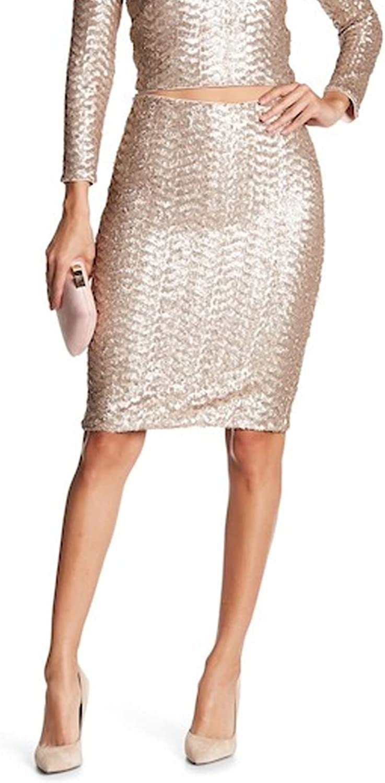 Alice + Olivia Womens Ramos Sequin Midi Skirt Nude Pink 2, 4