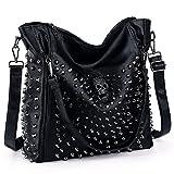 UTO Women Handbag PU Leather Skull Tote Crossbody Shoulder Bag with Wristlet Wallet A Black