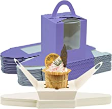 Cupcake Boxes 46Pack Individual Cupcake Carrier Holders Display Window with Strong Handle and Secure Insert Cake Box, Pastry Carrier Small Cake Box for Baby Shower Wedding Birthday Party (Purple)