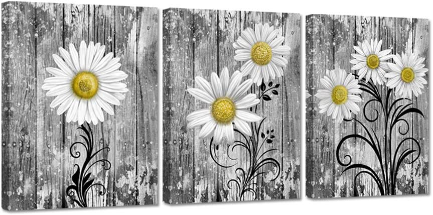 iHAPPYWALL 3 Pieces Bathroom Wall Gray Dallas Mall Art Daisy Yellow Our shop most popular Flowers