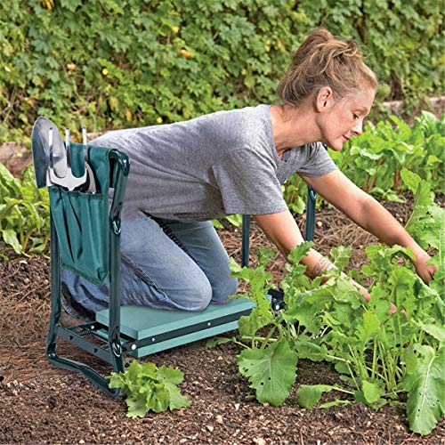 HOOJUEAN Foldable Garden Kneeler Seat with Upgraded Thicken Kneeling Pad and 1 Large Tool Pouch, Stool 330lb Capacity-Protects Your Knees, Clothes from Dirt Grass Stains Green