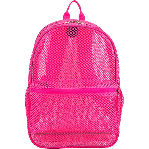 School Backpack. This Mesh Cute Rucksack, Knapsack, Haversack Bag Suitable For Kids, Teens & Adults. Best For Carry On, Books & All School & Study Supplies. W/Padded Adjustable Straps. (Pink)