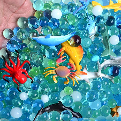 Water Beads Sea Animals Tactile Sensory Experience Kit - 24 Realistic Deep Sea Animal Figures Educational Toys & 5 Colors Sensory Water Gel Bead for Kids 3+(A969)