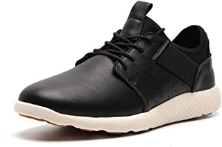 LANGBAO Men's Casual Running Shoes Breathable Leather Fashion Athletic Gym Walking Sneakers 7036-2