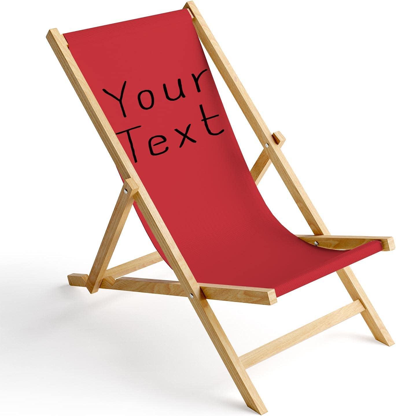 Ferocity Tumbona de Madera Plegable, Silla de Playa con Funda Intercambiable, diseño Su Texto Rojo 1 [119]