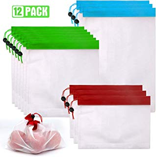 Reusable produce bags washable eco friendly mesh grocery bags drawstring 12 pack re-usable produce bags premium (a)