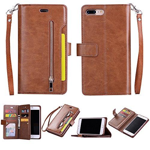 Yobby Reißverschluss Brieftasche Hülle für iPhone 7 Plus, iPhone 8 Plus Handyhülle,Slim Luxus Leder Flip Case [9 Kartefach] Magnetisch mit Stand und Handschlaufe Schutzhülle-Braun