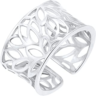 Elli 女式花朵装饰 925 纯银可调节戒指