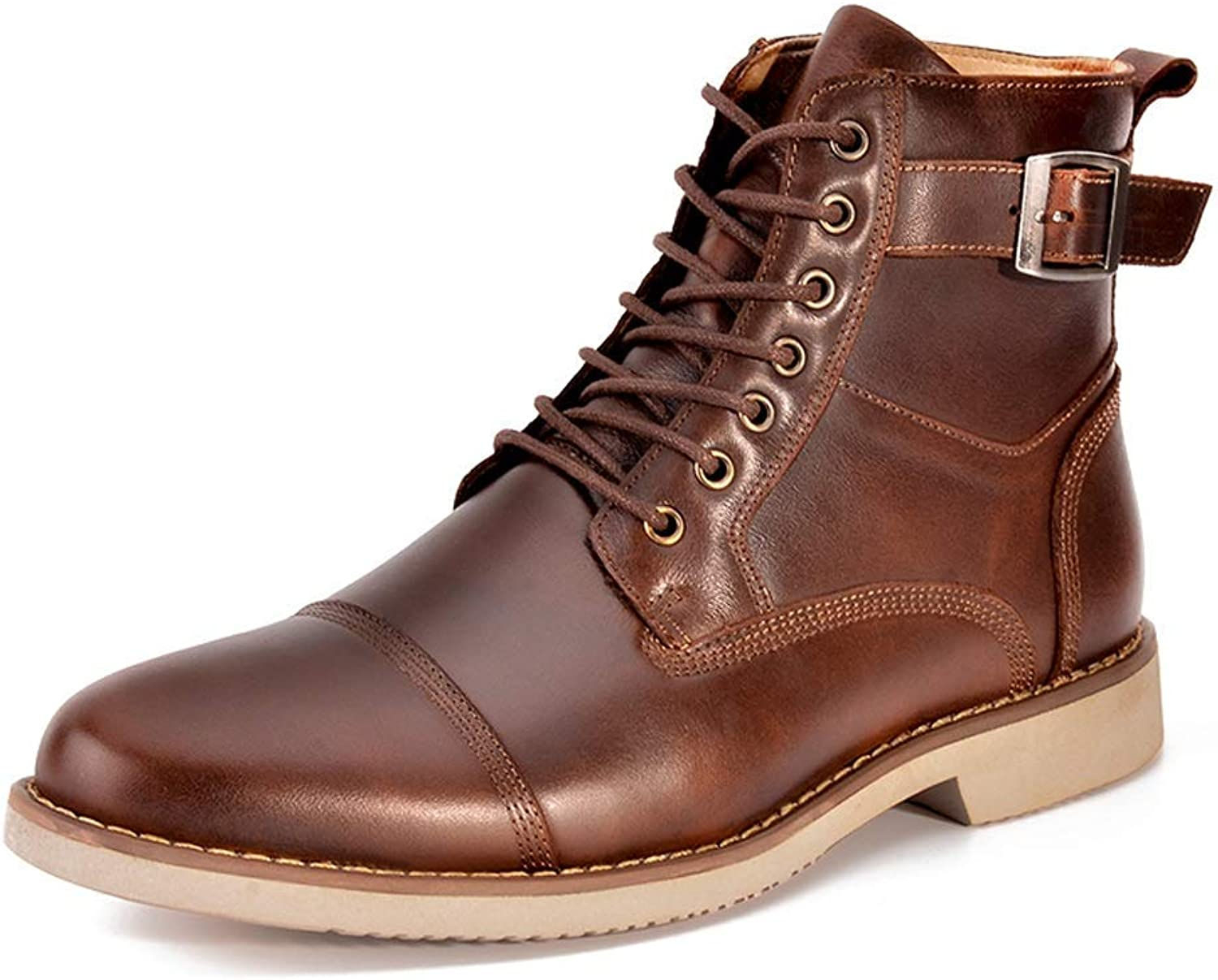 MON5F HOME High-top Men's shoes Leather Strap With European And American Leather Boots Men's Martin Boots Casual Leather Tooling Boots (color   Brown, Size   39)