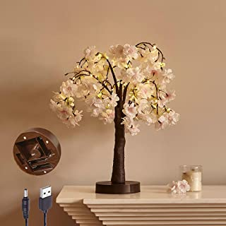 LITBLOOM Lighted Cherry Blossom Tree 18IN 40 LED with Timer Artificial Tabletop Bonsai Tree Lights USB Plug and Battery Op...
