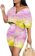 JYAOVO Womens Color Block 2 Piece Deep V Neck Outfit Off The Shoulder Short Sleeve Crop Top Short Pant Tracksuit Set