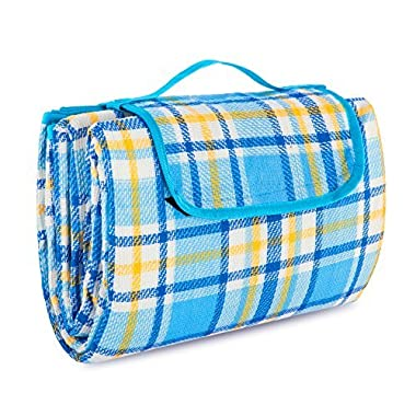 Extra Large Picnic & Outdoor Blanket with Waterproof Backing 80  x 80  (Blue)