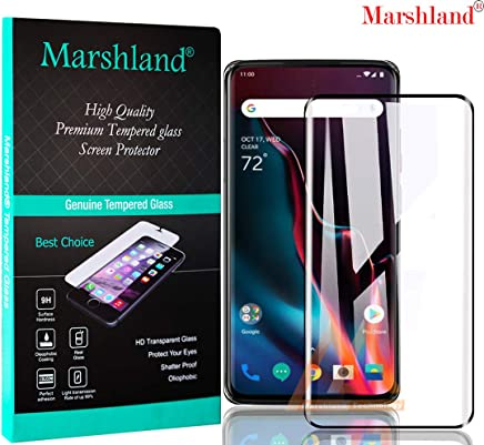 Marshland 9H Full Glue Screen Protector Anti Scratch Bubble Free Crystal Clear Smooth Curved Tempered Glass Compatible with Oneplus 7 Pro (Black)