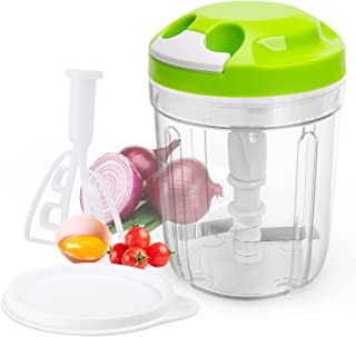 Hachoir Manuel,Hachoir Manuel a ficelle avec Batteur à oeufs,Coupe-oignon de Cuisine Salade,Sauce tomate,Saucisson/Machine...
