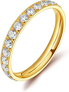 CiNily Stainless Steel Cubic Zirconia Band Rings for Women Girls