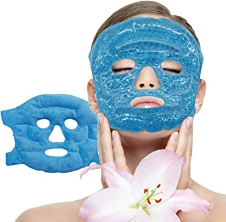 Facial Mask - Get Rid of Puffy Eyes - Migraine Relief, Sleeping, Travel Therapeutic Hot Cold Compress Pack - Gel Beads, Sp...