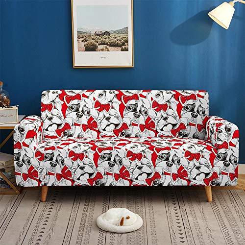 Protector de sofá con Estampado Fundas de Sofá Elasticas de 3 Plazas Poliéster Suave con Funda elástica Antideslizante Protector Cubierta de Muebles,Perro Animal