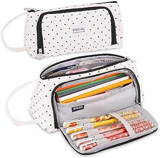 iSuperb Pencil Case Big Capacity Pen Bag Canvas Pencil Holder Stationery Pouch Bag Office Storage Organizer (Black)
