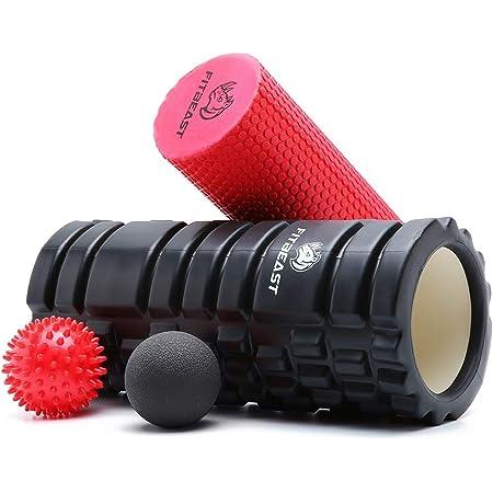 Rodillo Masaje Muscular de Hule para Profundos,Set 2-en-1 de Rodillo de Espuma, Foam Roller de Hule para Masaje Muscular, Terapia de Relajación Profunda, Relajar Piernas y Partes Cuerpo Adoloridas
