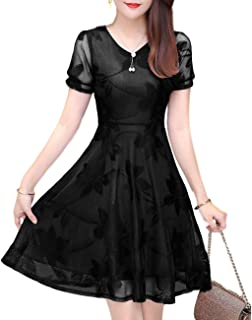 [ビーエヌワン] パーティー ドレス ワンピース vネック 半袖 シースルー 花柄 ミニ 膝上 レディース