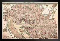 ワシントンDC ビンテージ 1898 アンティークスタイル マップ ブラック ウッド フレーム入りアートポスター 20x14