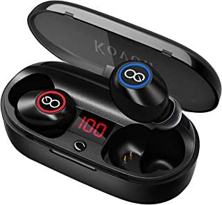 $34 Get Wireless Earbuds, Kovon 5.0 Auto Pairing Bluetooth Headphones Binaural Call Wireless Headphones 20H Playtime HD Stereo Bass Sound in Ear Bluetooth Earphones with Charging Case for Sports Running …